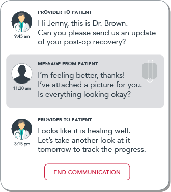 mobile screen patient messaging sample